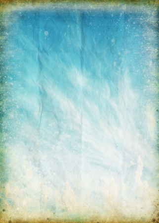 cloud and blue sky on old grunge paper ,retro background photo