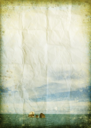 sea and cloud on old grunge paper ,retro background photo