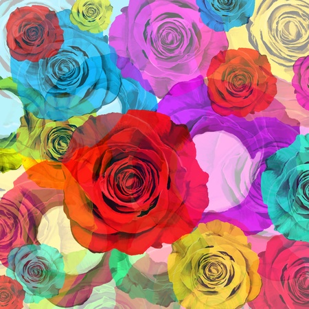 floral background ,colorful roses,graphic design  Stock Photo