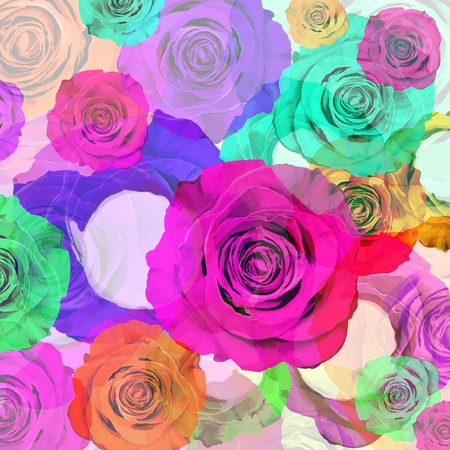 velvety: floral background ,colorful roses,graphic design  Stock Photo