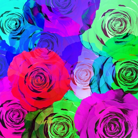 sexual abstract: floral background ,colorful roses,graphic design  Stock Photo