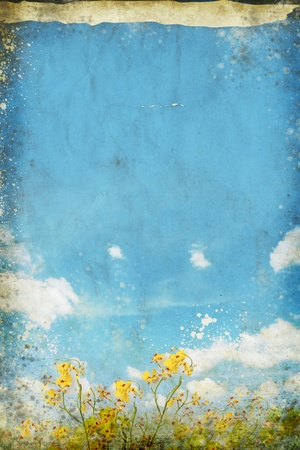 floral in blue sky and cloud on old grunge paper photo