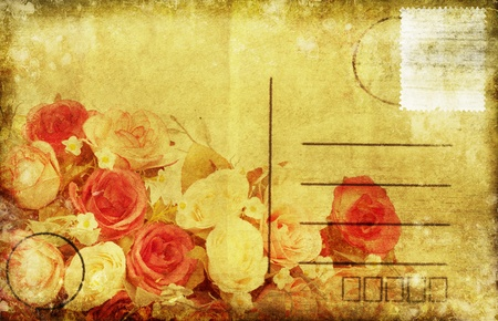 flower pattern on old postcard ,retro style photo