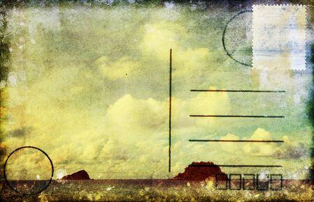 sea and cloud old postcard ,retro style photo