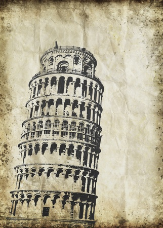 Leaning Tower of Pisa on old grunge paper