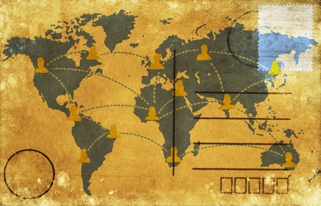 postcard back: world map on old postcard ,retro style Stock Photo