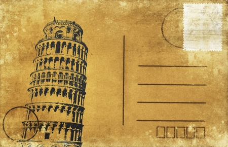 Leaning Tower of Pisa on old postal card ,retro style photo