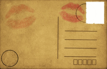 postcard back: kiss lips on old blank postcard ,retro style