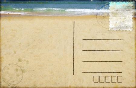 sea beach on postcard ,retro style