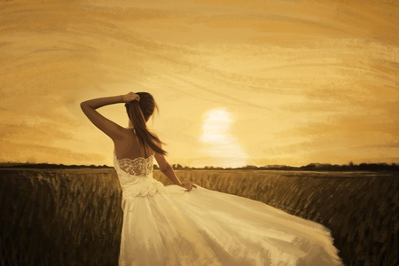 painting of bride in yellow field on sunset  photo