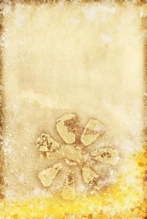 floral pattern on old grunge paper ,wallpaper photo