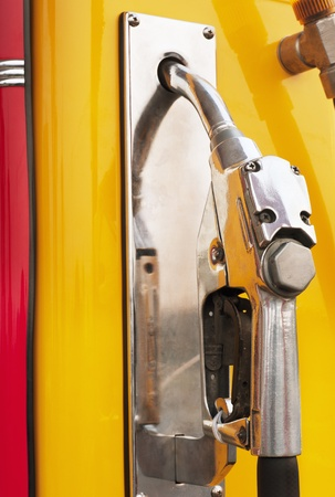 retro gas station pump ,yellow color photo