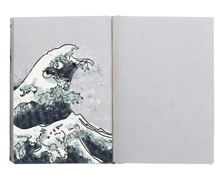 hand made book with wave painting  photo