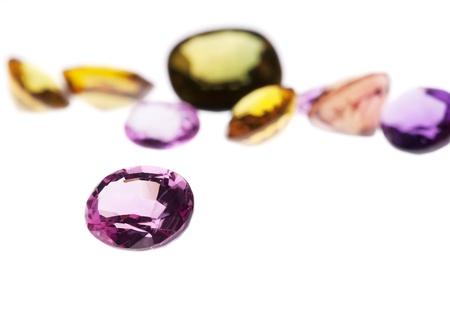 colorful gems isolated on white background Stock Photo - 12536766