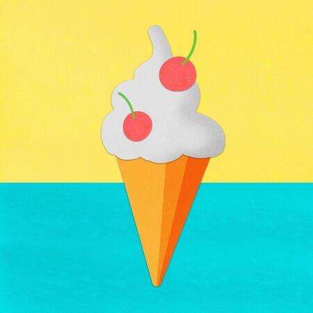 ice cream on hand made paper ,paper art design photo