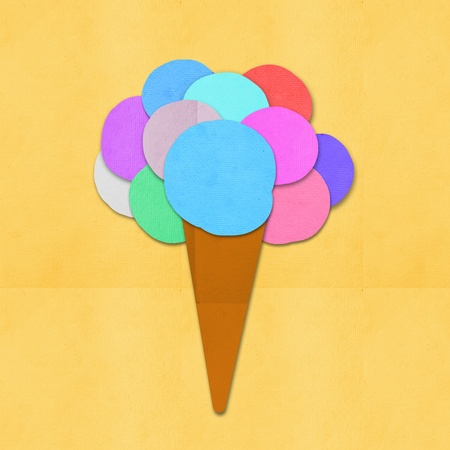 ice cream on hand made paper ,paper art design photo