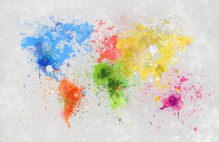pintura mapa del mundo en papel hecho a mano photo
