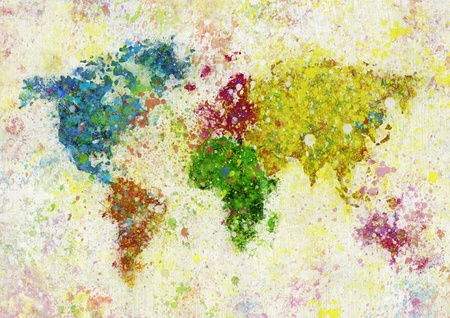 painting of world map on hand made paper