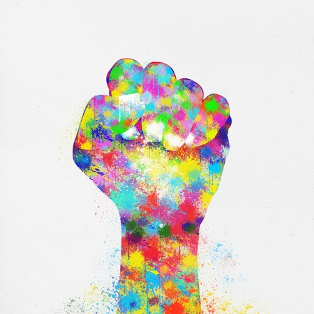 saturate: colorful painting of hand fist ,hand made paper
