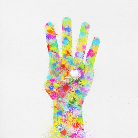 saturate: colorful painting of hand ,four finger ,hand made paper Stock Photo