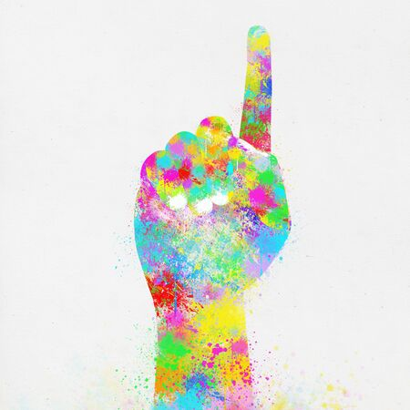 colorful painting of hand ,one finger ,hand made paper photo