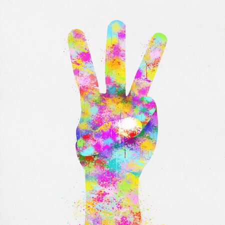 three points: colorful painting of hand ,three finger ,hand made paper