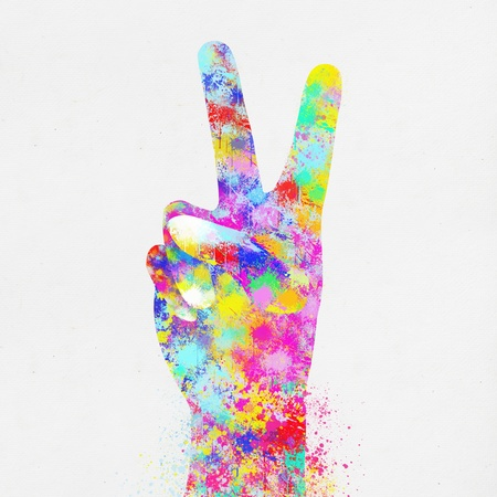 colorful painting of hand ,two finger ,hand made paper photo