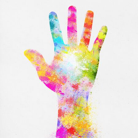 colorful painting of hand ,,hand made paper photo