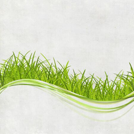illustrate: green grass design on hand made paper