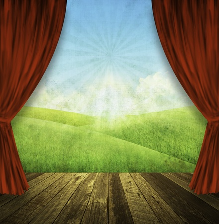 drama: theater stage with red curtains and spring summer background