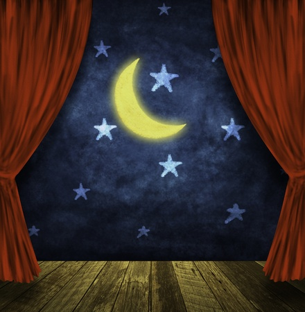 old moon: theater stage with red curtains and night sky,stars ,moon background
