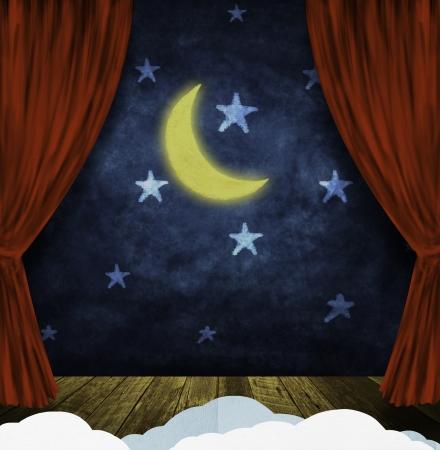 teatro antiguo: teatro escenario con cortinas rojas y el cielo nocturno, las estrellas, la luna de fondo