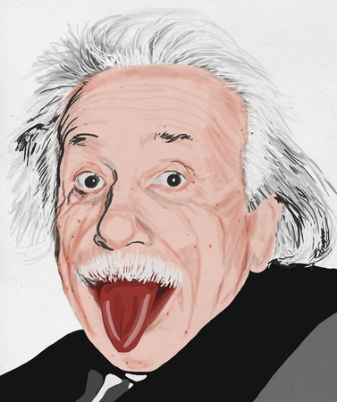 painting of albert einstein on hand made paper ,made by photoshop in real painting style