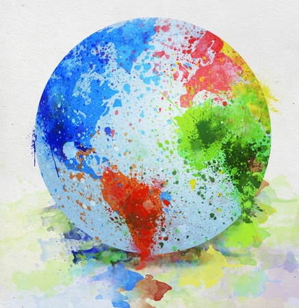 colorful globe painting on paper ,made by photoshop in real painting style