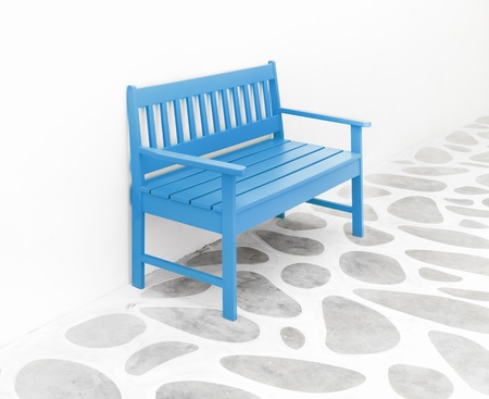 blue chair and decoration floor ,white room photo
