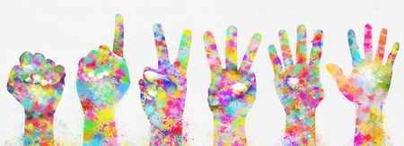 body painting: colorful painting of hands ,number zero to five