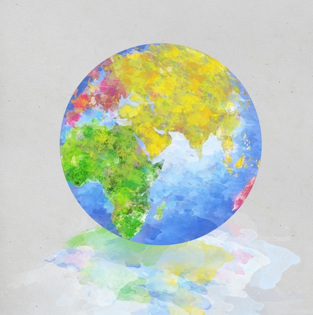colorful globe painting on paper   photo