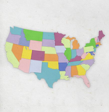 America map on hand made paper  photo