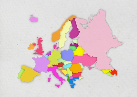 colorful Europe map on paper photo