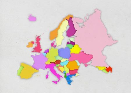 czech switzerland: Europa mappa colorata su carta