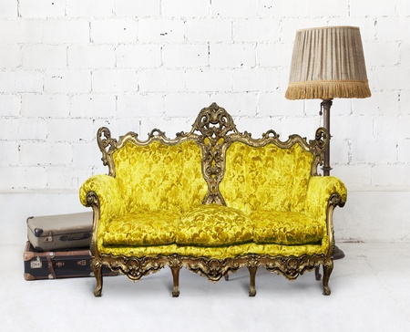 victorian sofa in white room ,,interior design photo