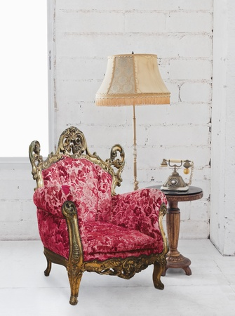 single victorian sofa in white room Stock Photo - 13063160