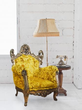 single victorian sofa in white room photo