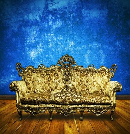 victorian sofa in retro room ,interior photo