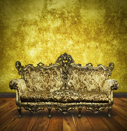victorian sofa in retro room ,interior Stock Photo