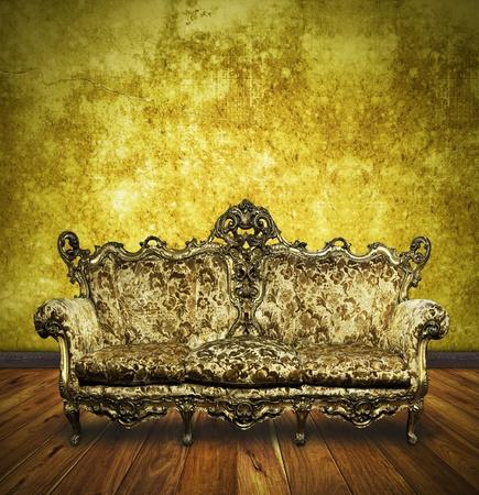 victorian sofa in retro room ,interior Stock Photo