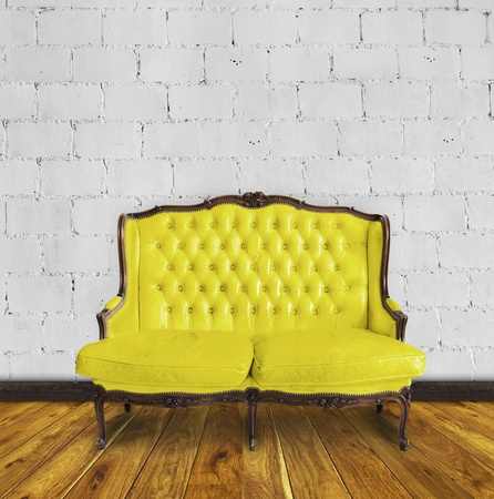 leather sofa in room ,interior details Stock Photo - 13080741