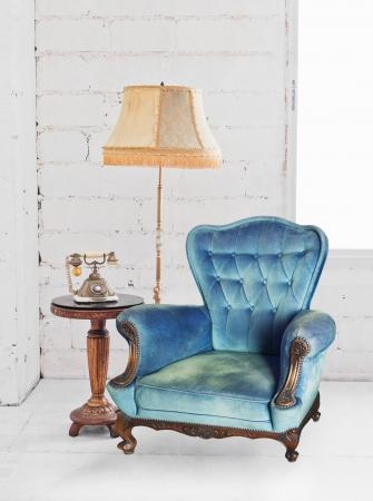 single sofa in white room Stock Photo - 13080740