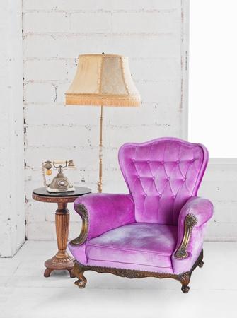 single sofa in white room Stock Photo - 13080736