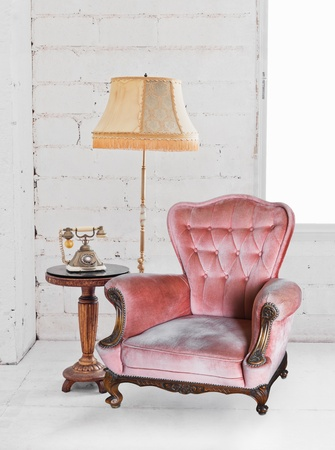 single sofa in white room photo